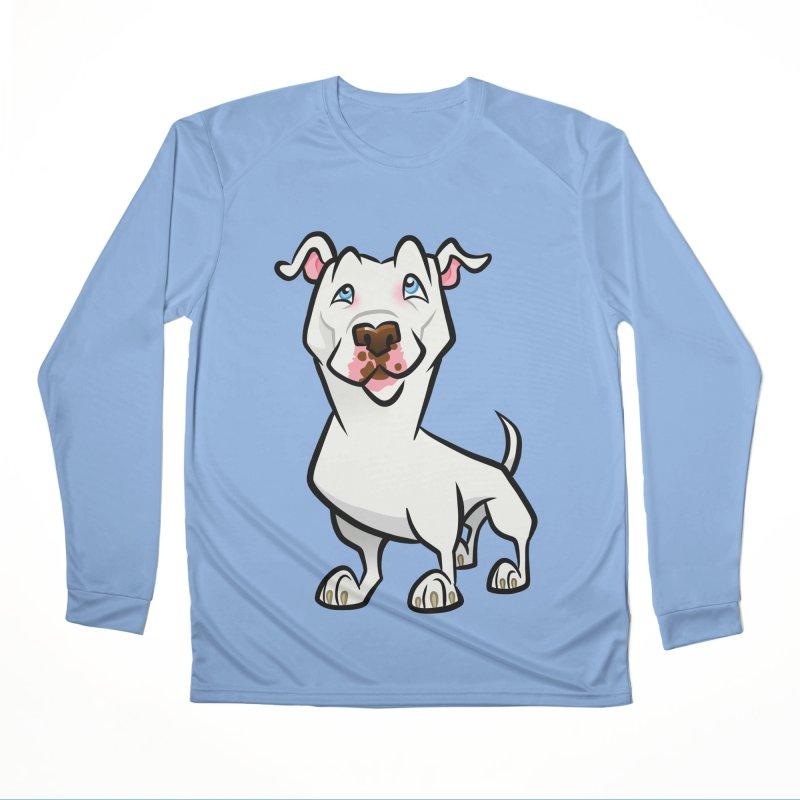 White Pit Bull Women's Performance Unisex Longsleeve T-Shirt by binarygod's Artist Shop