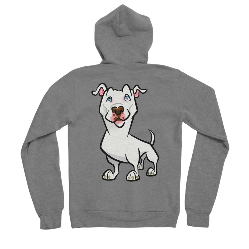 White Pit Bull Women's Sponge Fleece Zip-Up Hoody by binarygod's Artist Shop