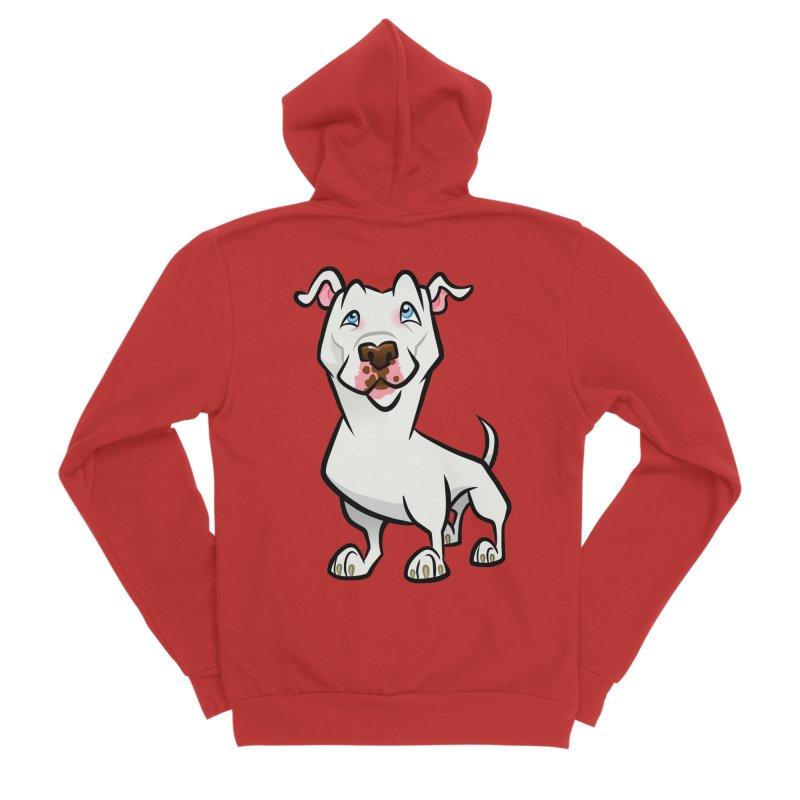 White Pit Bull Men's Sponge Fleece Zip-Up Hoody by binarygod's Artist Shop