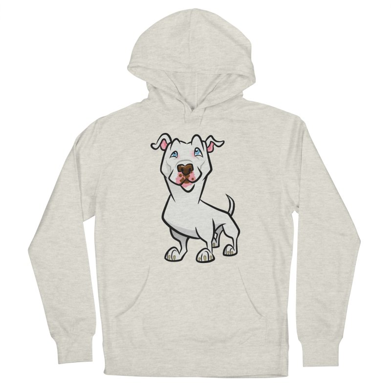 White Pit Bull Men's French Terry Pullover Hoody by binarygod's Artist Shop