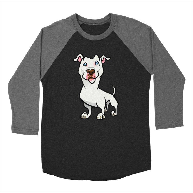 White Pit Bull Women's Baseball Triblend Longsleeve T-Shirt by binarygod's Artist Shop