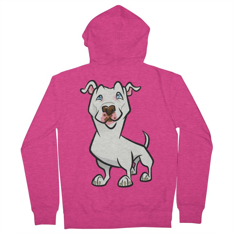 White Pit Bull Women's French Terry Zip-Up Hoody by binarygod's Artist Shop