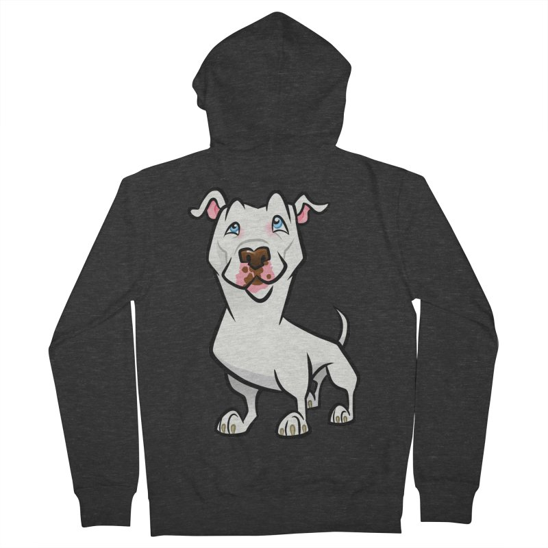 White Pit Bull Men's French Terry Zip-Up Hoody by binarygod's Artist Shop