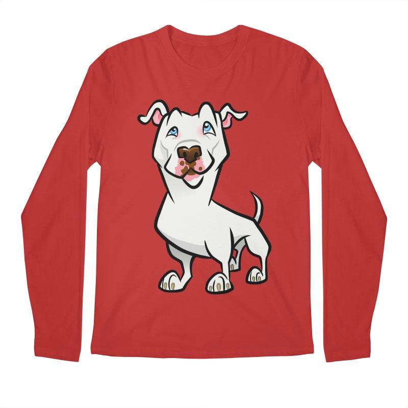 White Pit Bull Men's Regular Longsleeve T-Shirt by binarygod's Artist Shop