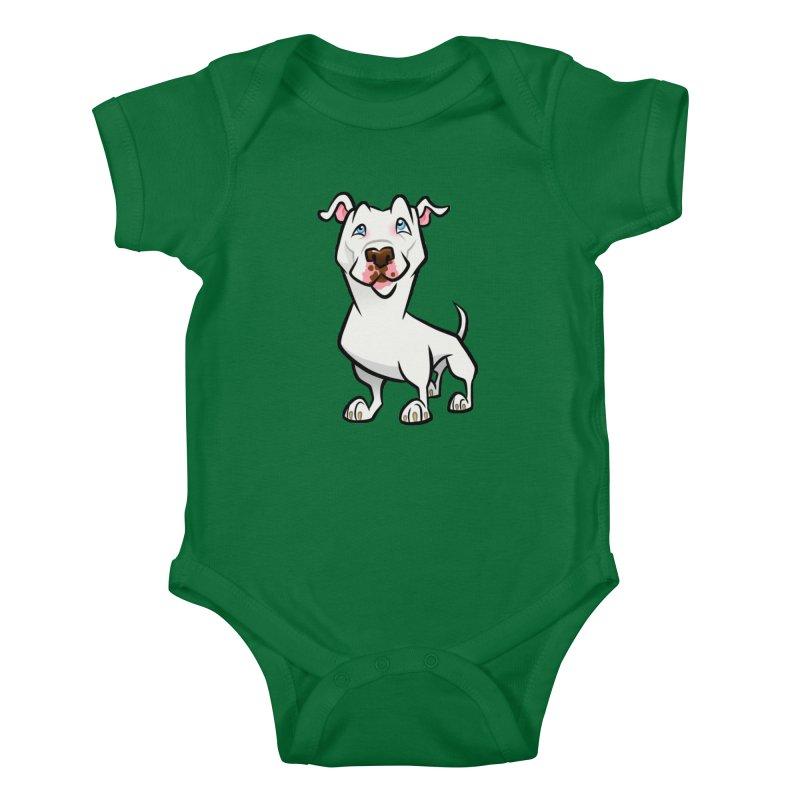 White Pit Bull Kids Baby Bodysuit by binarygod's Artist Shop