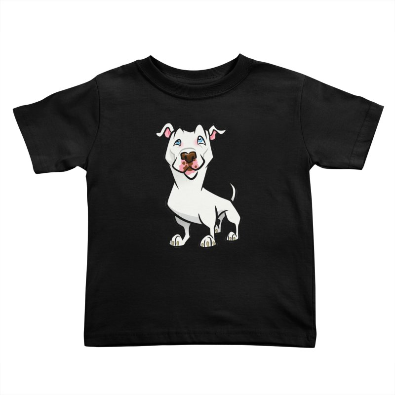 White Pit Bull Kids Toddler T-Shirt by binarygod's Artist Shop