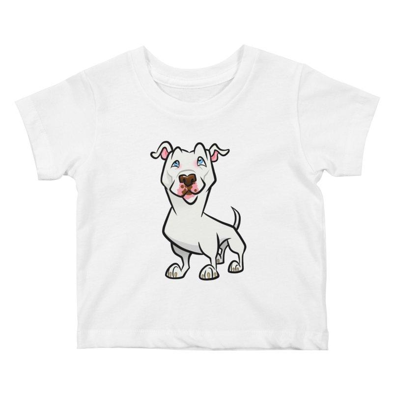 White Pit Bull Kids Baby T-Shirt by binarygod's Artist Shop