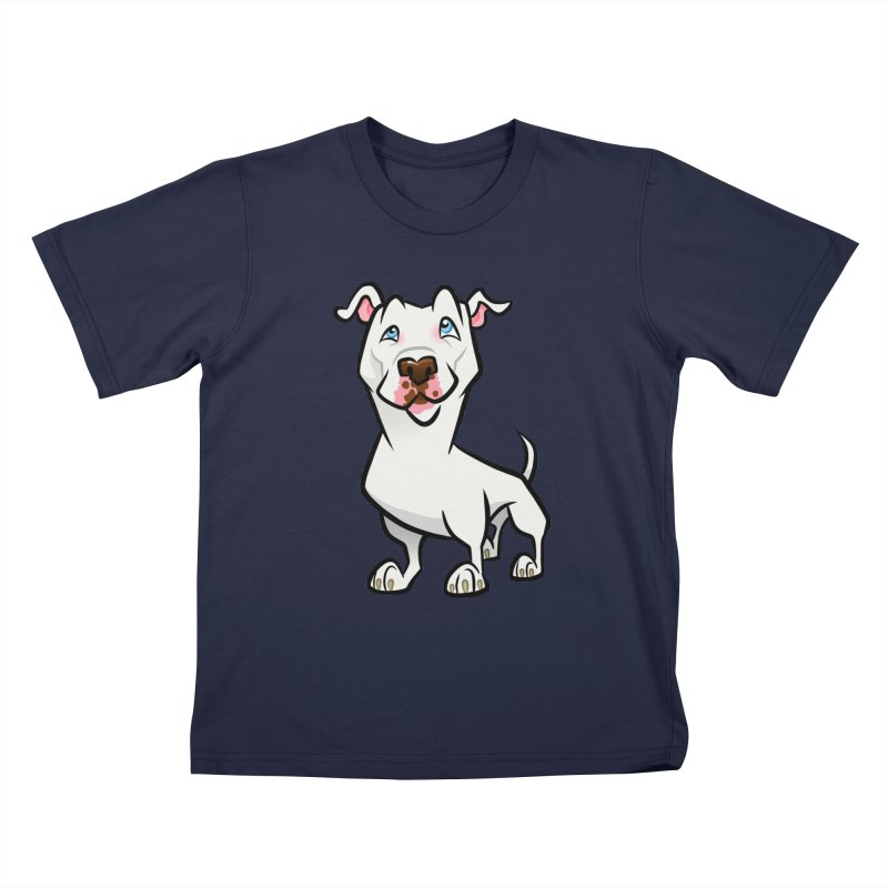 White Pit Bull Kids T-Shirt by binarygod's Artist Shop