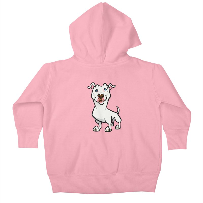 White Pit Bull Kids Baby Zip-Up Hoody by binarygod's Artist Shop