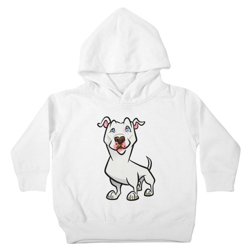 White Pit Bull Kids Toddler Pullover Hoody by binarygod's Artist Shop
