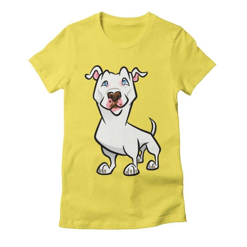White Pit Bull Women's Fitted T-Shirt by binarygod's Artist Shop