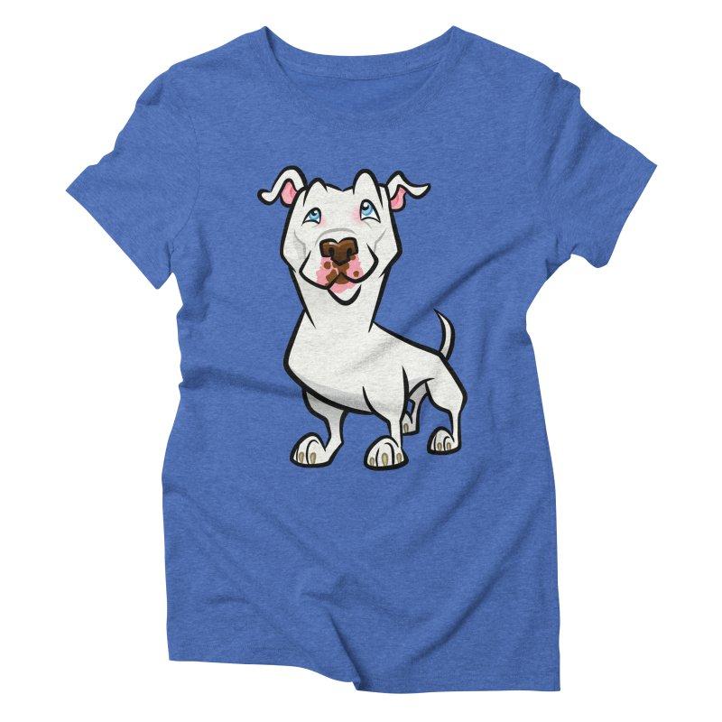White Pit Bull Women's Triblend T-Shirt by binarygod's Artist Shop