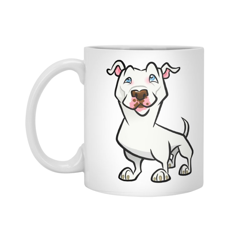 White Pit Bull Accessories Standard Mug by binarygod's Artist Shop