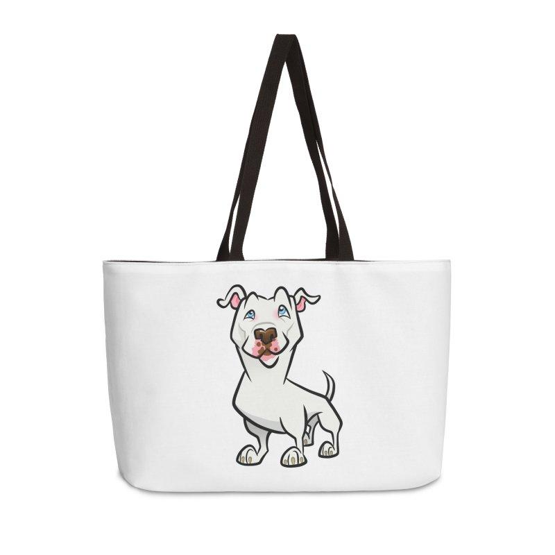 White Pit Bull Accessories Weekender Bag Bag by binarygod's Artist Shop
