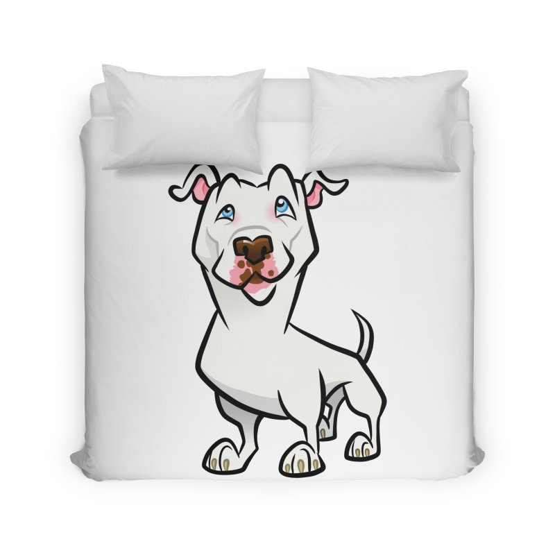 White Pit Bull Home Duvet by binarygod's Artist Shop
