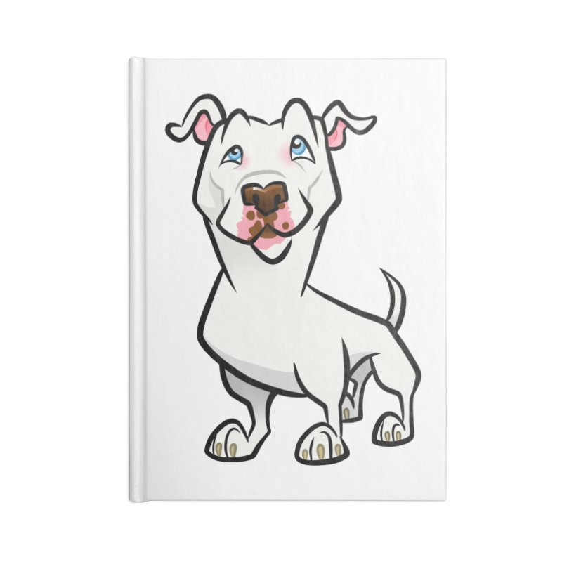 White Pit Bull Accessories Lined Journal Notebook by binarygod's Artist Shop