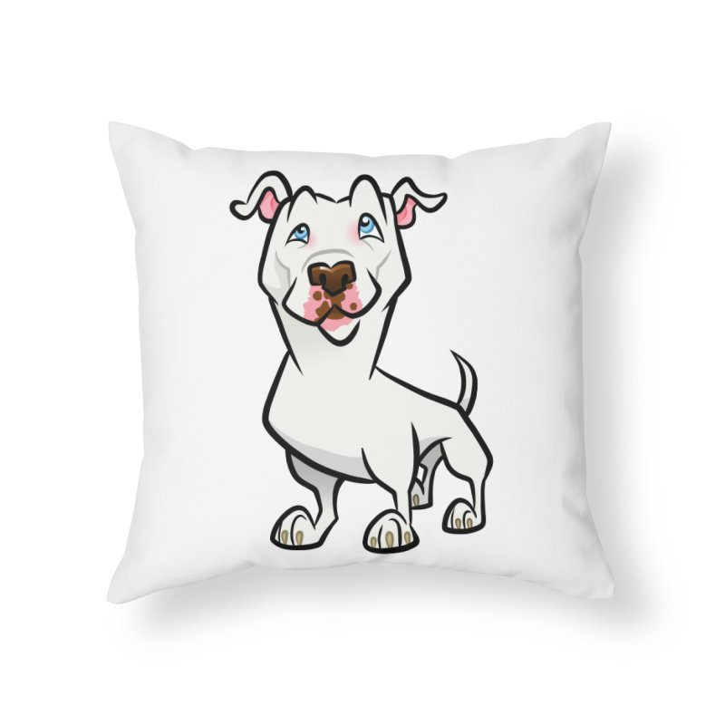 White Pit Bull Home Throw Pillow by binarygod's Artist Shop