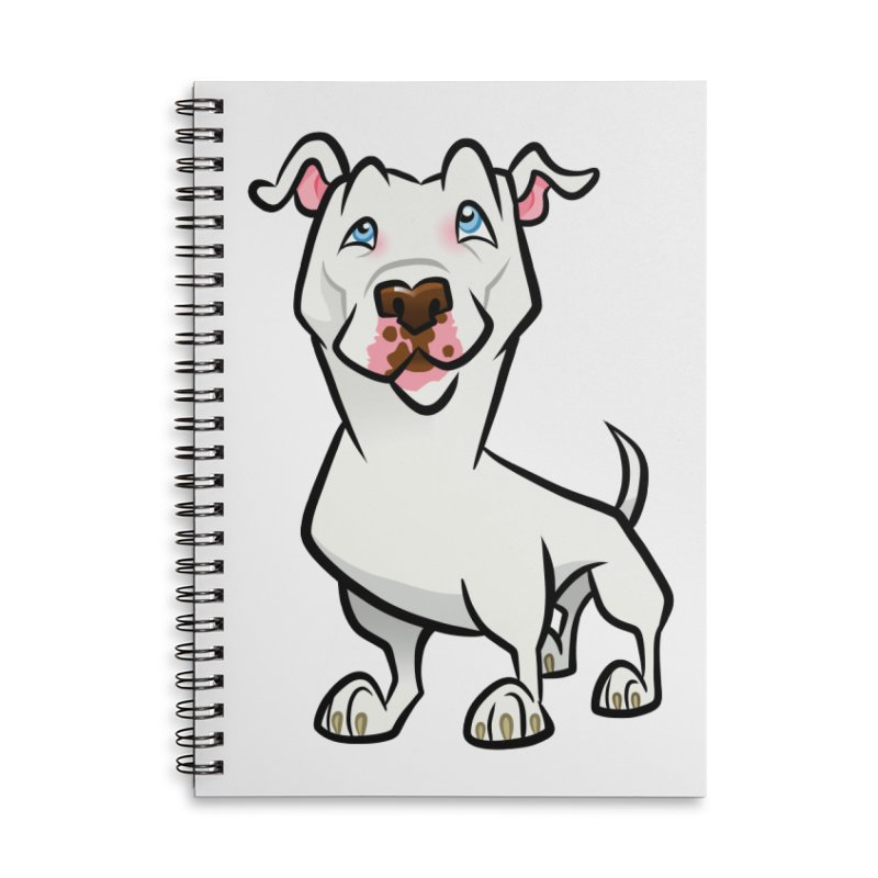 White Pit Bull Accessories Lined Spiral Notebook by binarygod's Artist Shop
