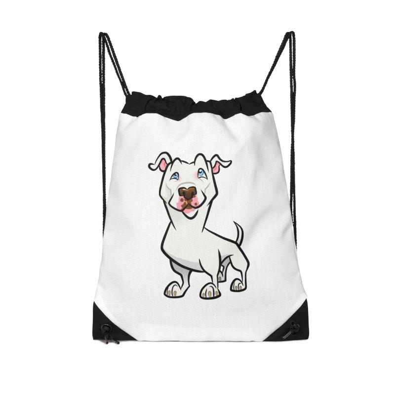 White Pit Bull Accessories Drawstring Bag Bag by binarygod's Artist Shop
