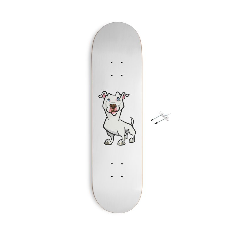 White Pit Bull Accessories With Hanging Hardware Skateboard by binarygod's Artist Shop