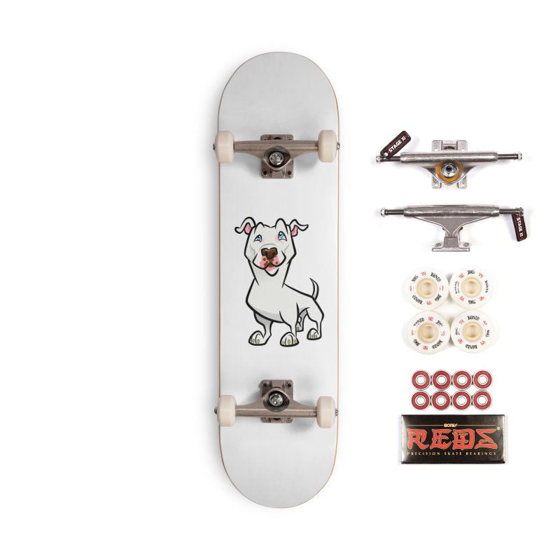 White Pit Bull Accessories Complete - Pro Skateboard by binarygod's Artist Shop