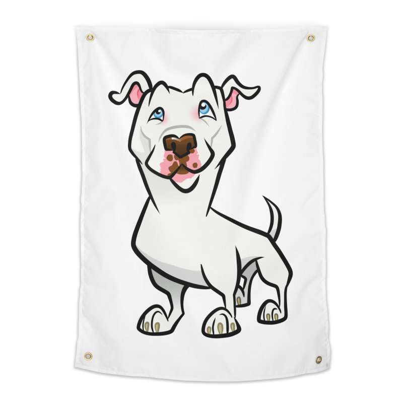 White Pit Bull Home Tapestry by binarygod's Artist Shop