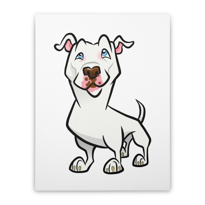 White Pit Bull Home Stretched Canvas by binarygod's Artist Shop