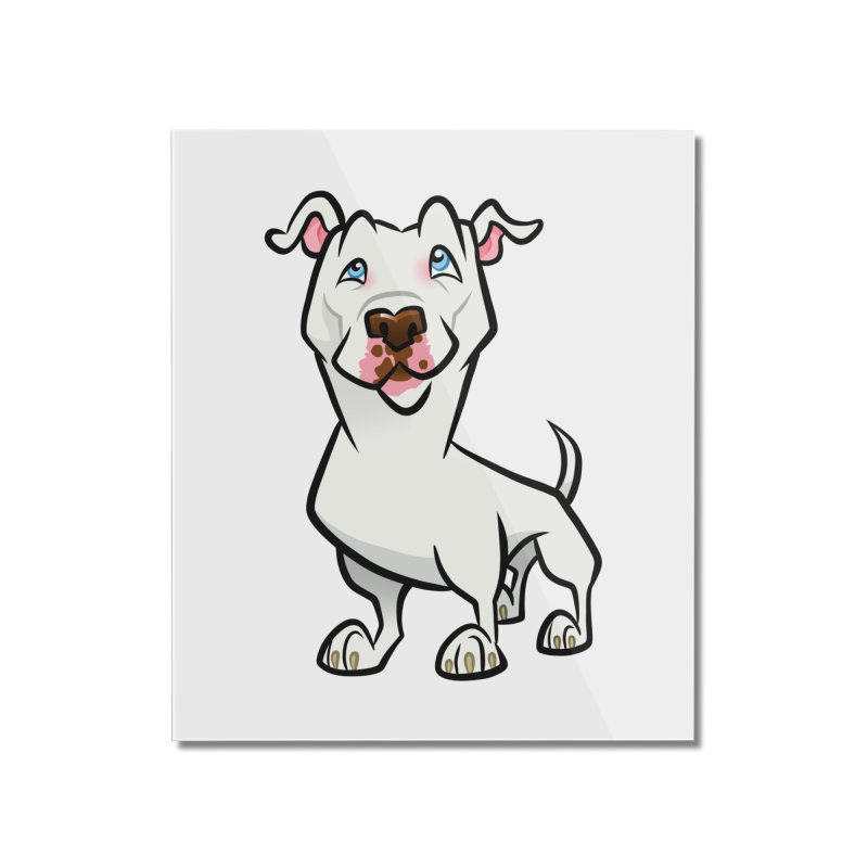 White Pit Bull Home Mounted Acrylic Print by binarygod's Artist Shop