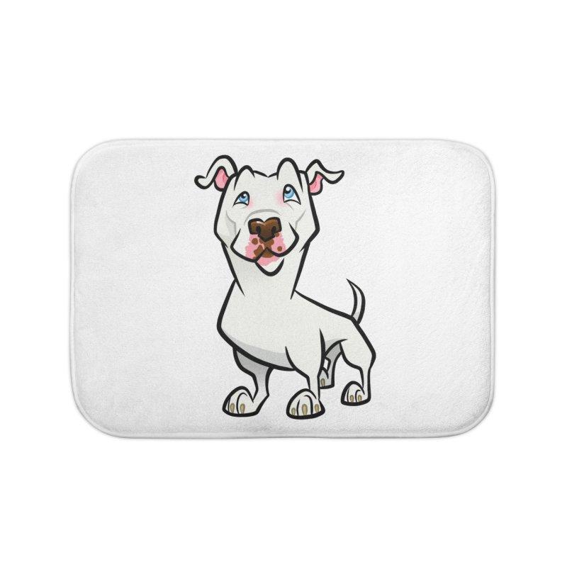 White Pit Bull Home Bath Mat by binarygod's Artist Shop