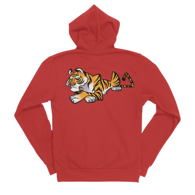 Tiger Caricature Women's Zip-Up Hoody by binarygod's Artist Shop