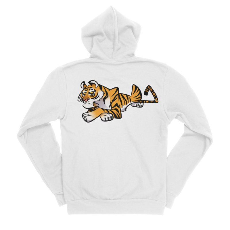 Tiger Caricature Women's Sponge Fleece Zip-Up Hoody by binarygod's Artist Shop