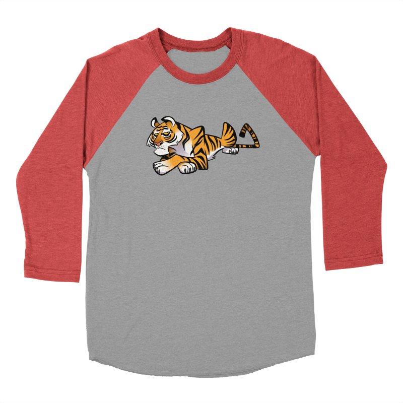 Tiger Caricature Women's Baseball Triblend Longsleeve T-Shirt by binarygod's Artist Shop