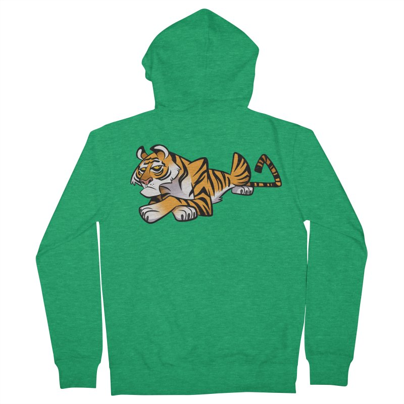 Tiger Caricature Women's French Terry Zip-Up Hoody by binarygod's Artist Shop