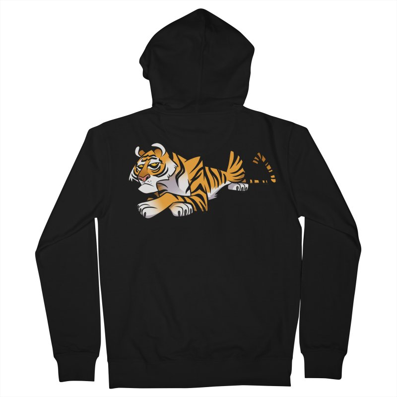 Tiger Caricature Men's French Terry Zip-Up Hoody by binarygod's Artist Shop