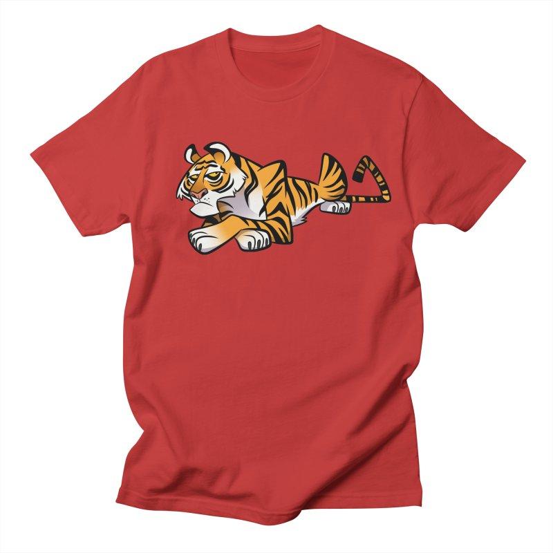 Tiger Caricature Women's Regular Unisex T-Shirt by binarygod's Artist Shop