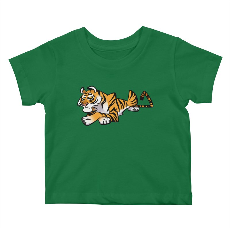 Tiger Caricature Kids Baby T-Shirt by binarygod's Artist Shop
