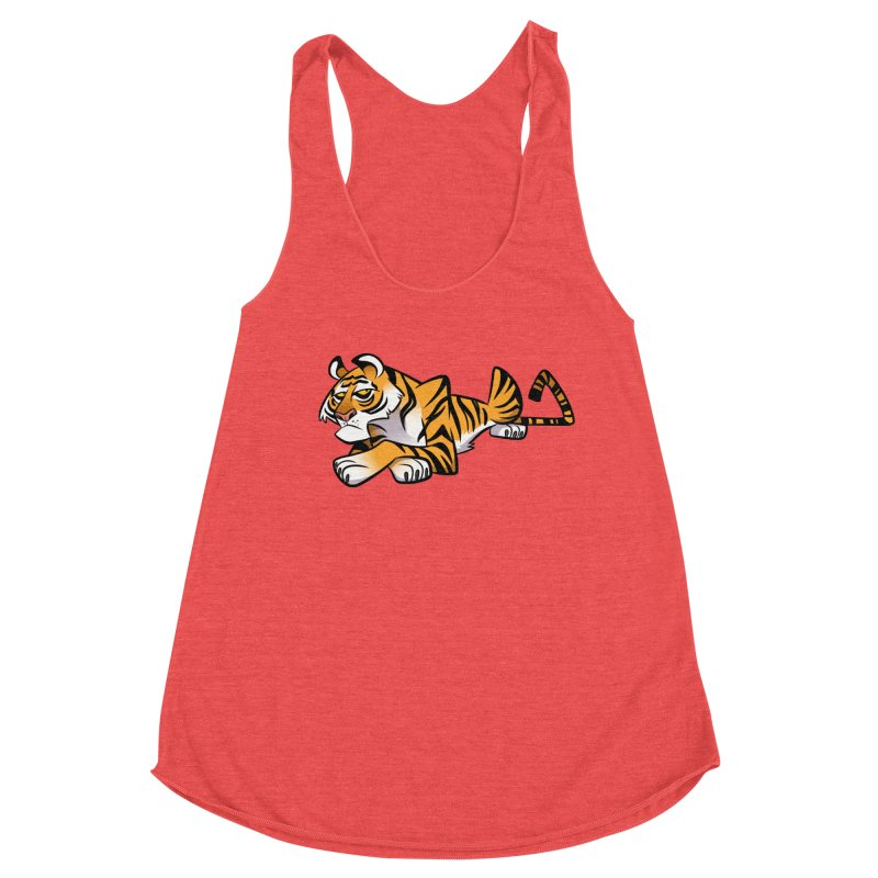 Tiger Caricature Women's Racerback Triblend Tank by binarygod's Artist Shop
