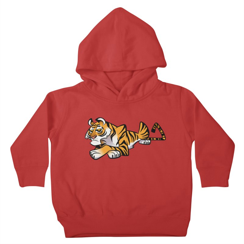 Tiger Caricature Kids Toddler Pullover Hoody by binarygod's Artist Shop