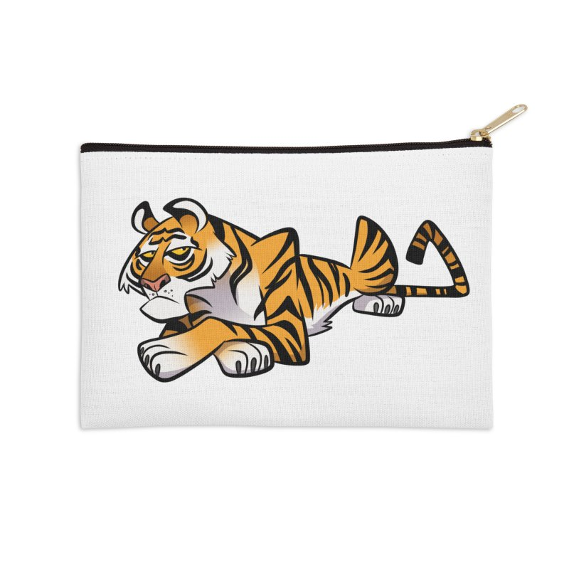 Tiger Caricature Accessories Zip Pouch by binarygod's Artist Shop