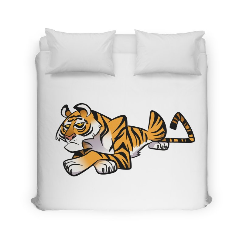 Tiger Caricature Home Duvet by binarygod's Artist Shop