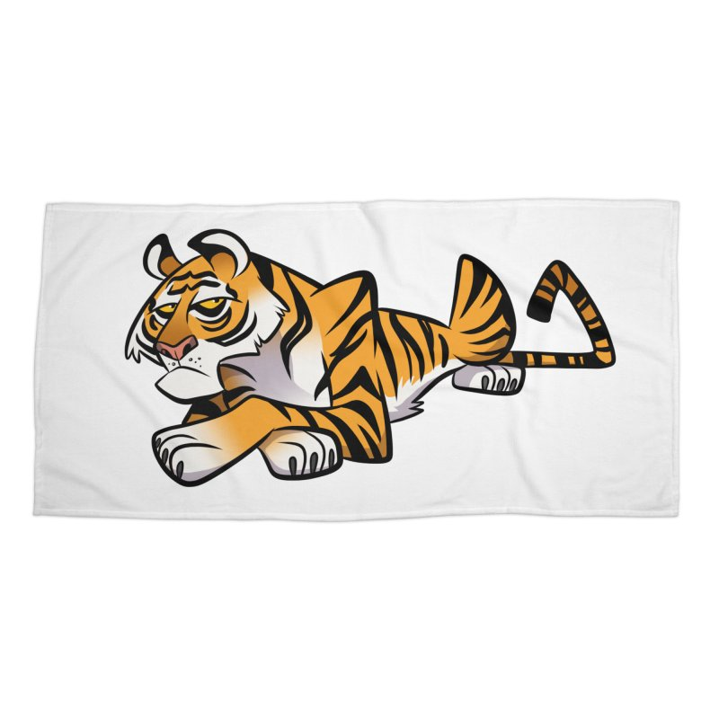 Tiger Caricature Accessories Beach Towel by binarygod's Artist Shop