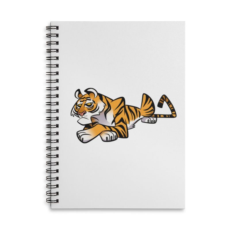 Tiger Caricature Accessories Lined Spiral Notebook by binarygod's Artist Shop