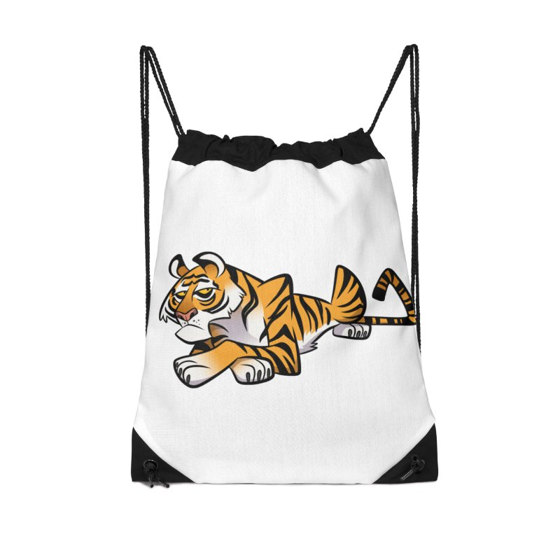 Tiger Caricature Accessories Drawstring Bag Bag by binarygod's Artist Shop