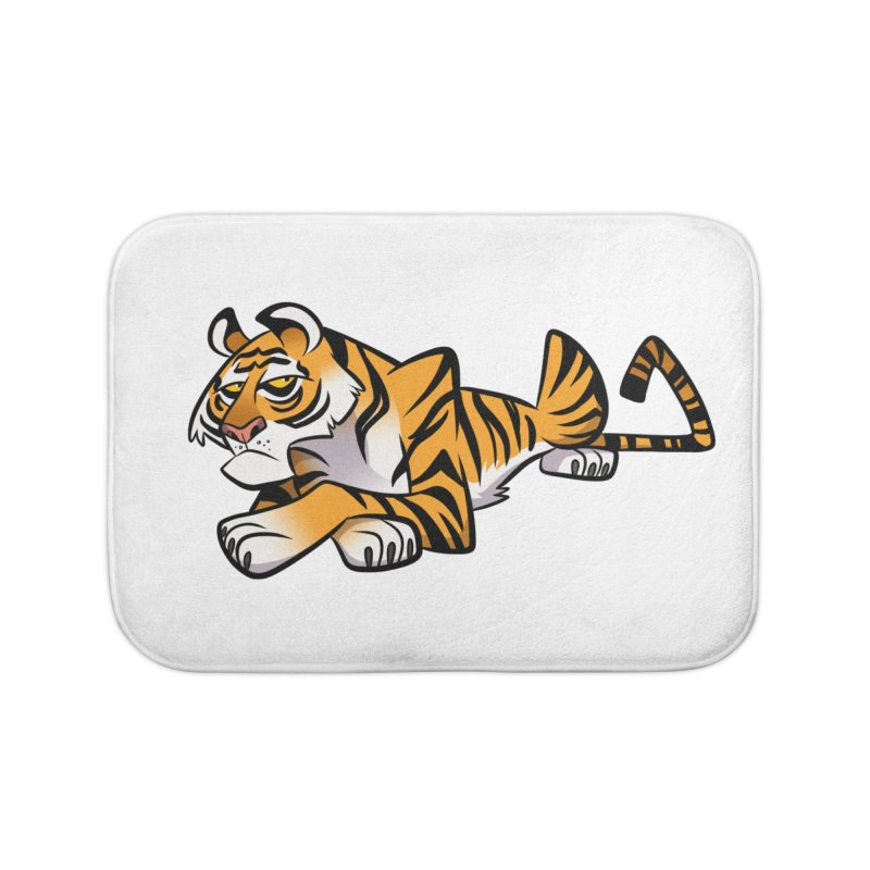 Tiger Caricature Home Bath Mat by binarygod's Artist Shop