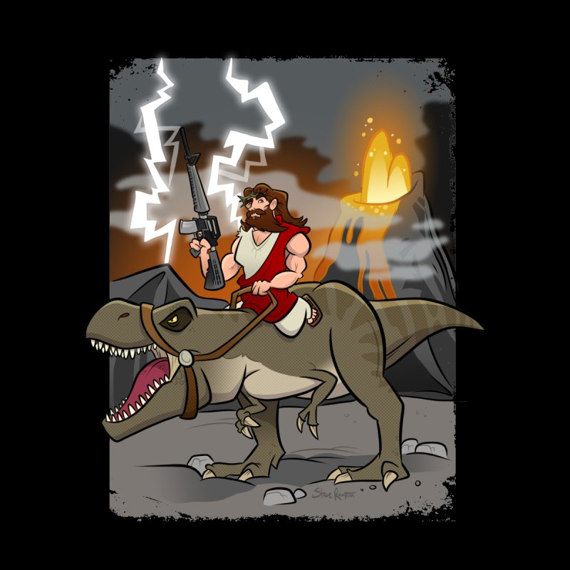Jesus Riding Dinosaur Kids Pullover Hoody by binarygod's Artist Shop