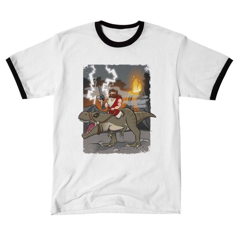 Jesus Riding Dinosaur Men's T-Shirt by binarygod's Artist Shop