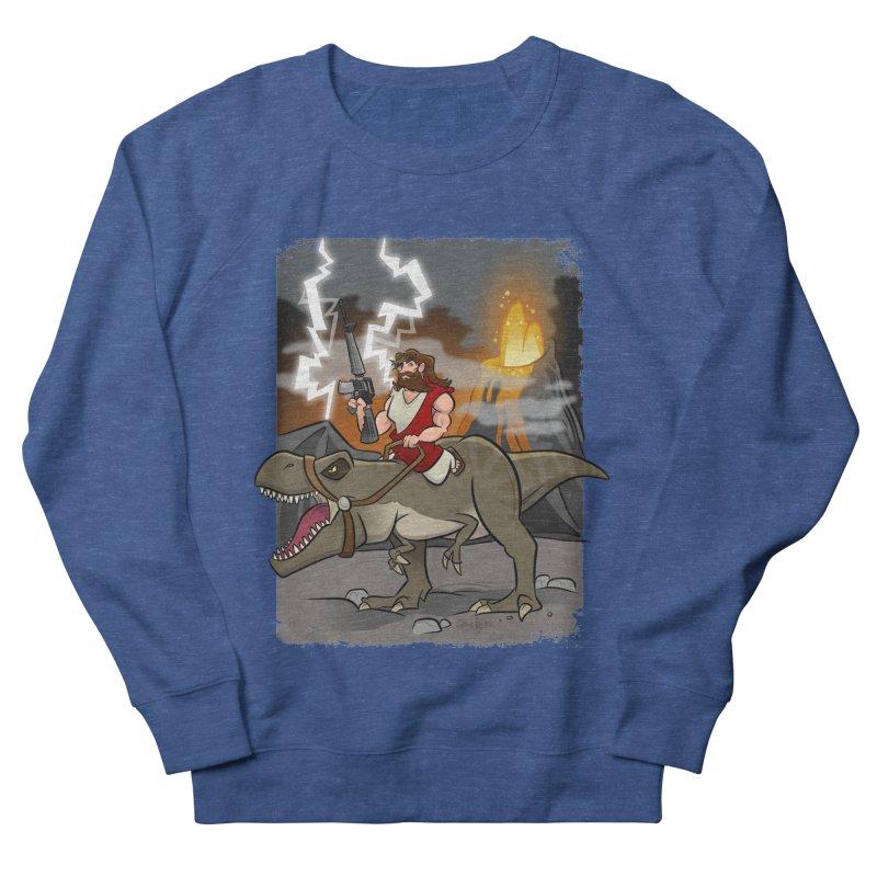 Jesus Riding Dinosaur Men's Sweatshirt by binarygod's Artist Shop