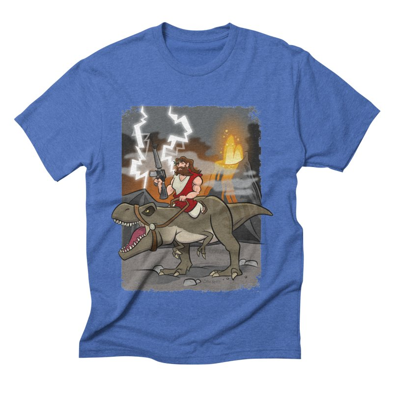 Jesus Riding Dinosaur Men's T-Shirt by binarygod's Artist Shop