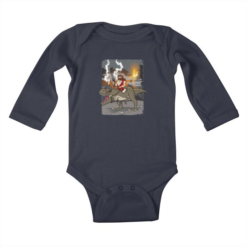 Jesus Riding Dinosaur Kids Baby Longsleeve Bodysuit by binarygod's Artist Shop