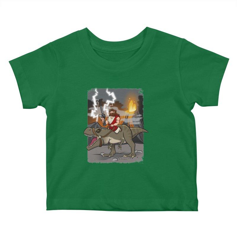 Jesus Riding Dinosaur Kids Baby T-Shirt by binarygod's Artist Shop